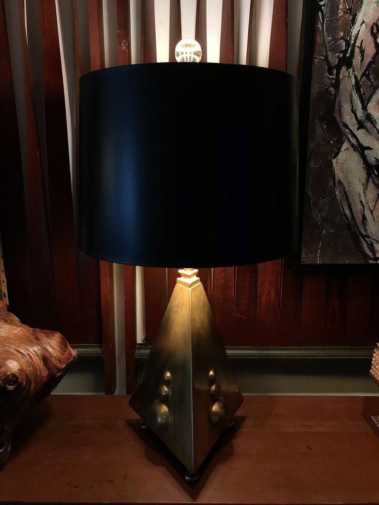 Triangular Brass Table Lamp