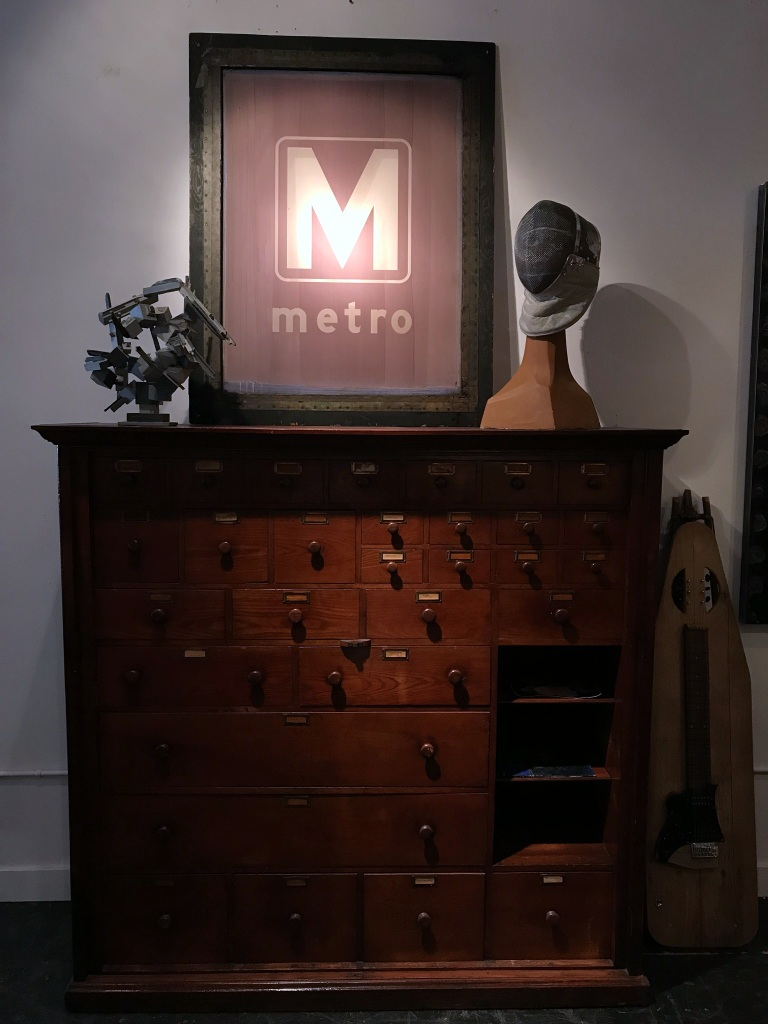 Store Cabinet with Metro Sign