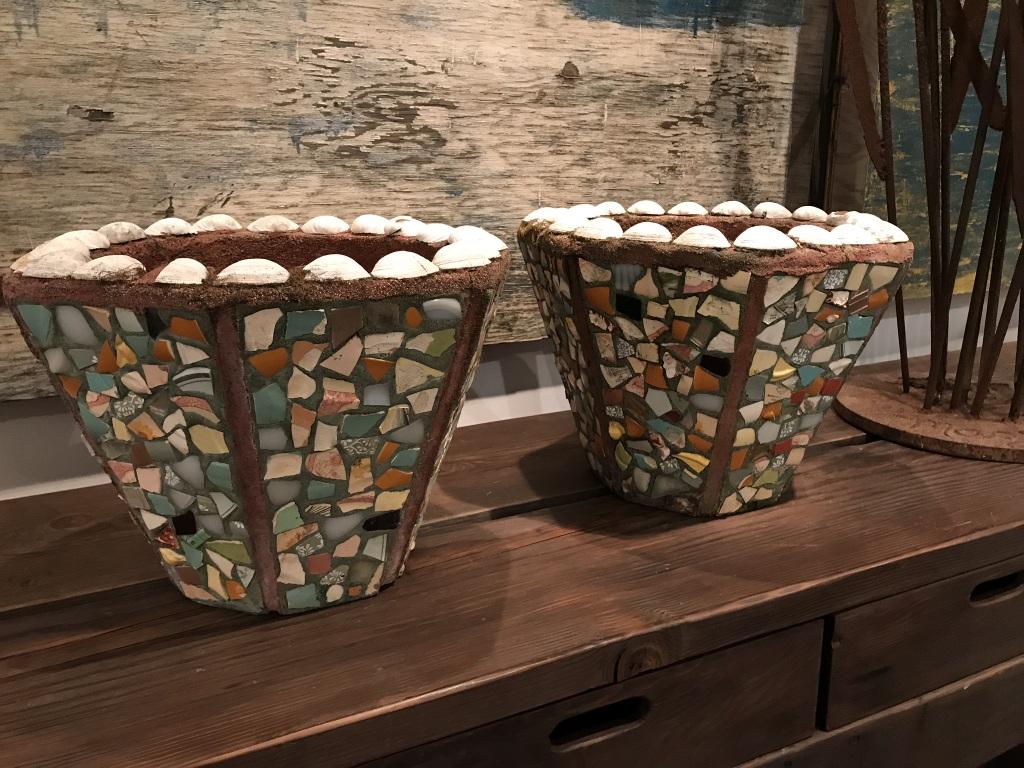 Mosaic Pottery Urns