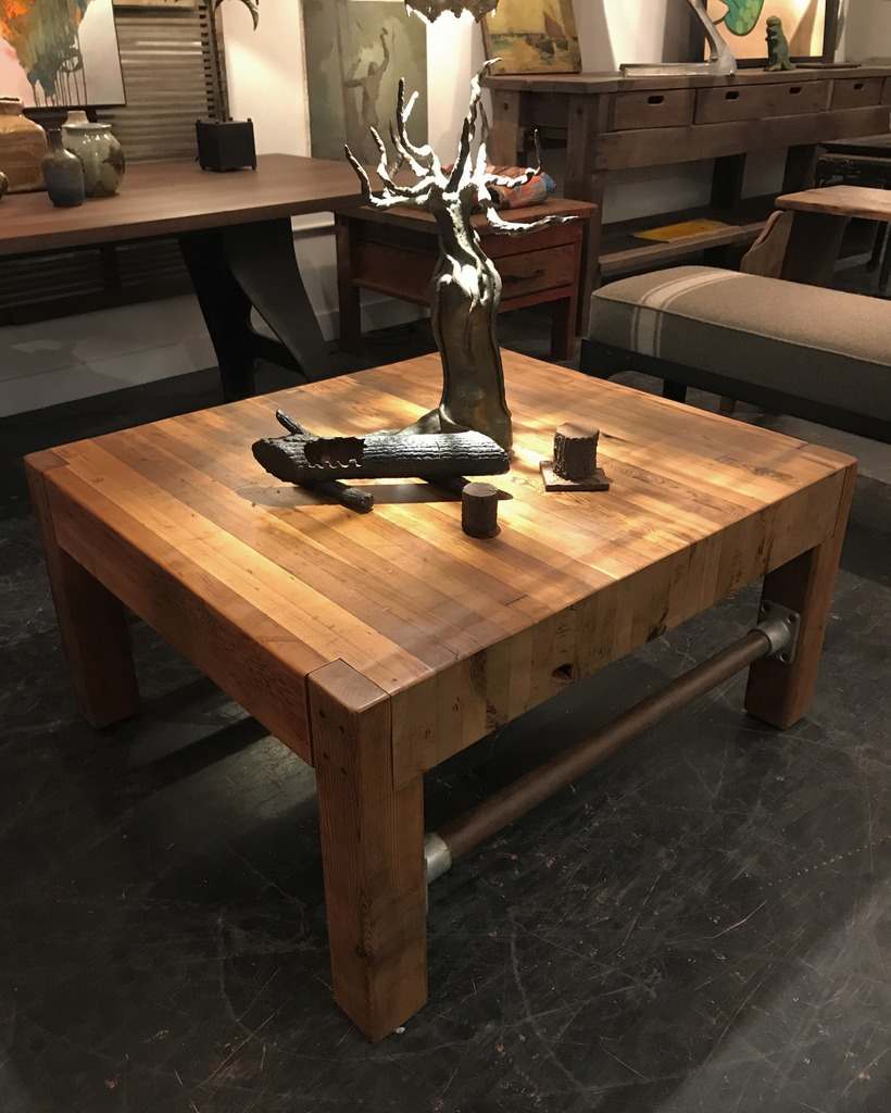 Butcher Block Style Cocktail Table