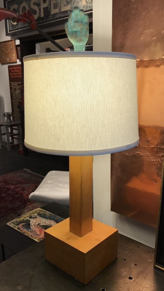 Wooden Table Lamp with Hand Finial