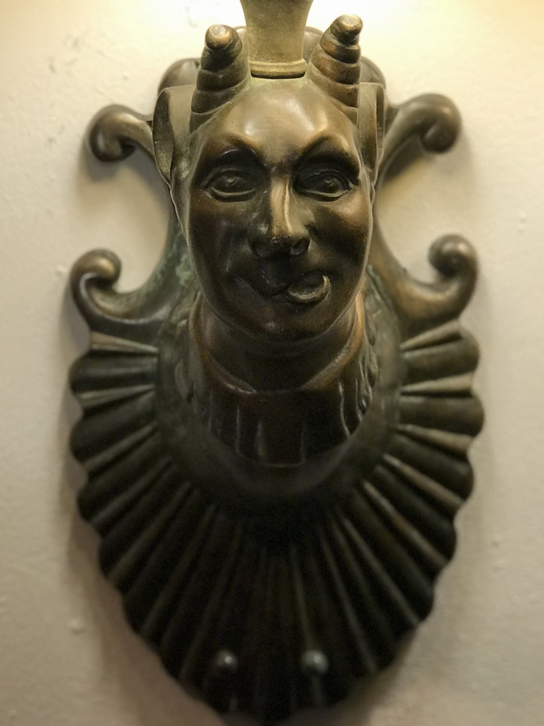 Cast Brass Satyr Sconce detail