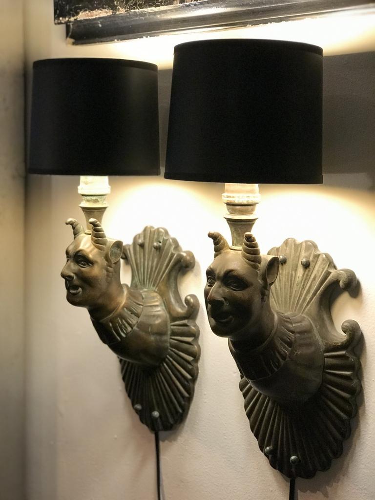 Cast Brass Satyr Sconces