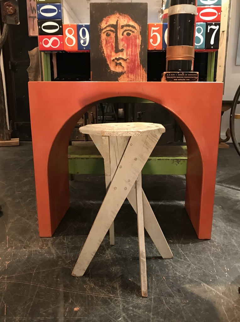 Gray Folk Art Side Table