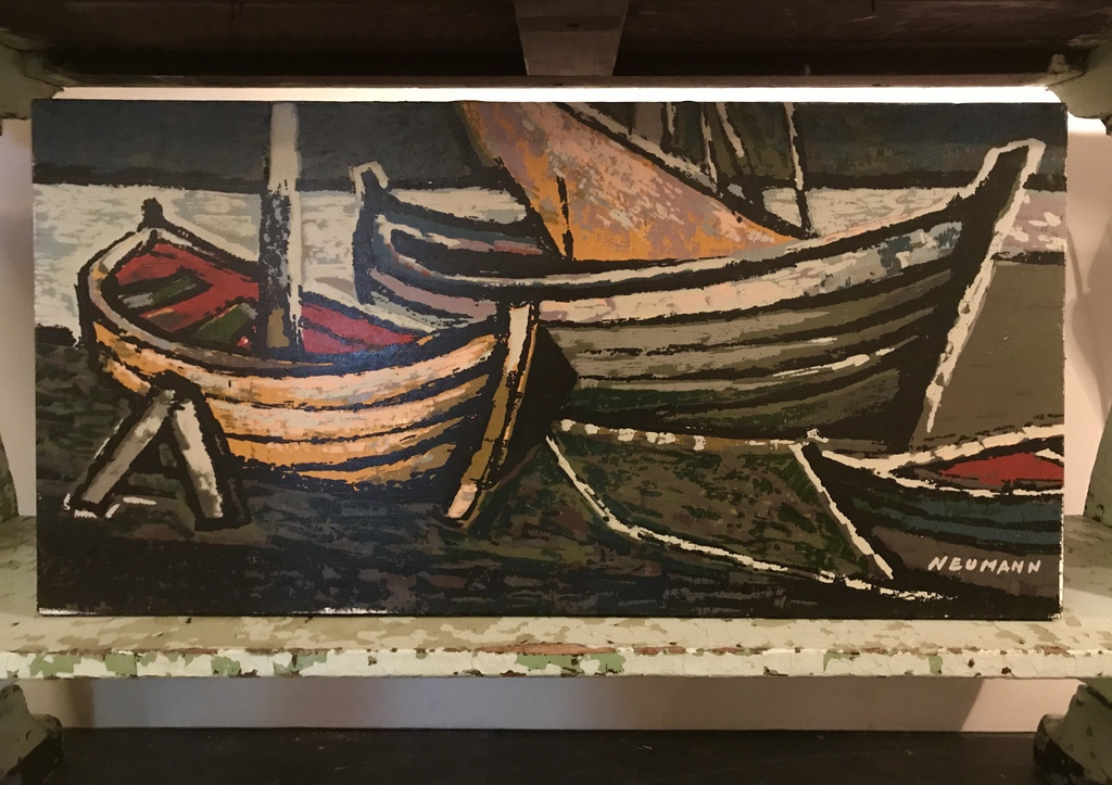 Mid Century Boat Painting