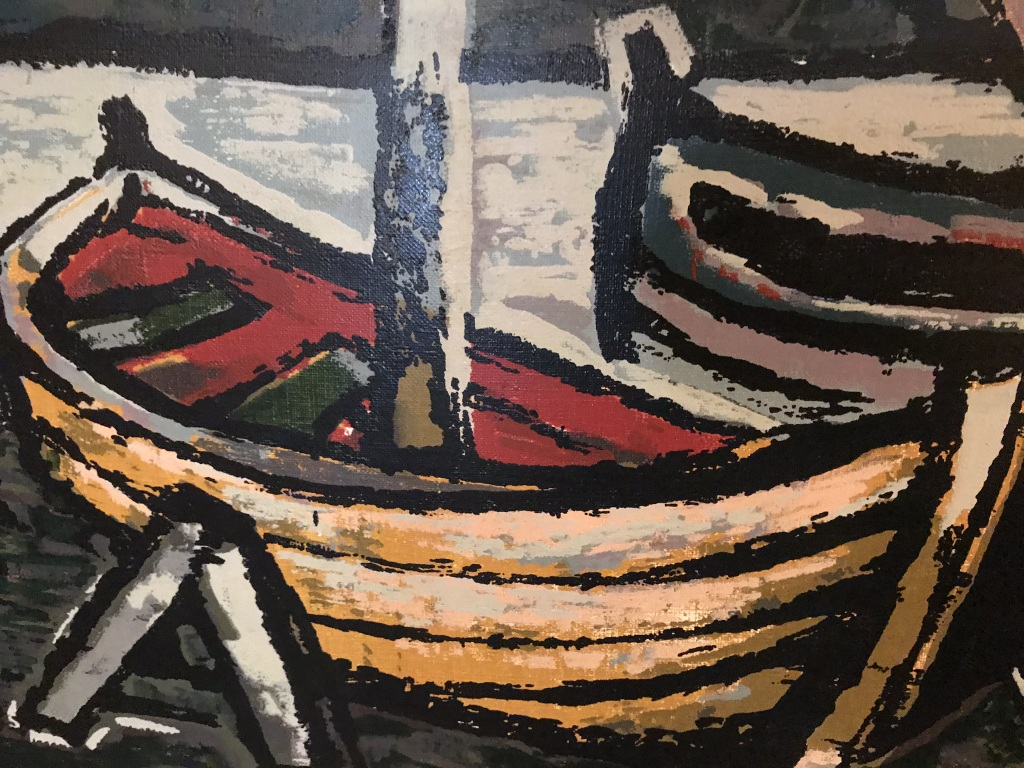 Mid Century Boat Painting detail