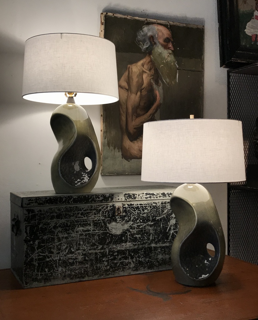 Green and Gray Restored Midcentury Lamps