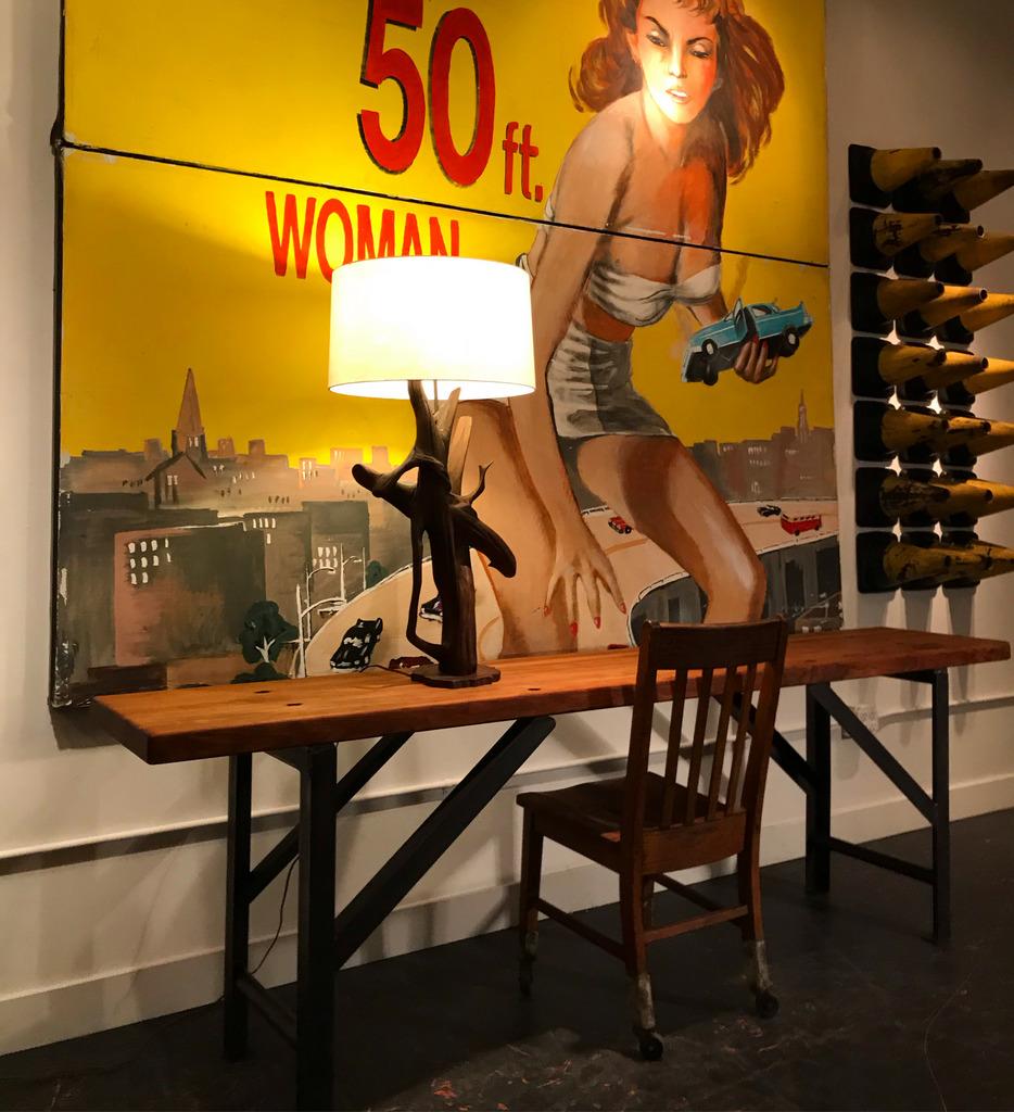 Narrow Wood Top Shop Table