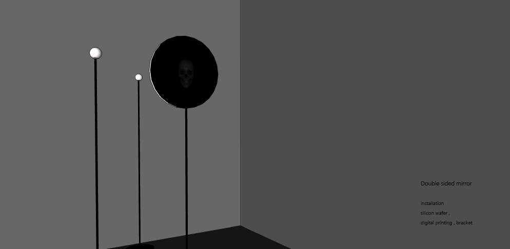双面镜   ,则是一个现代寓言。借用红楼梦中风月宝鉴的故事,想讨论被我们映射了所有欲望的科技会不会像那个古老的寓言,让我们陷入一场注定的困境之中。     The double-sided mirror  is a modern day fable, borrowing the story from Dream of the Red Chamber.    It's a piece trying to discuss whether the technology that has mirrored our desires would trap us in the dilemma as was told in the ancient fable.