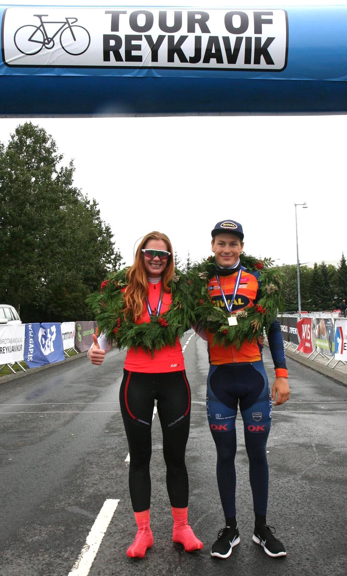 Sigurvegararnir í 110 km: Erla Sigurlaug Sigurðardóttir og Tobias Mörch .  Ljósmynd: Anna Lilja Sigurðardóttir