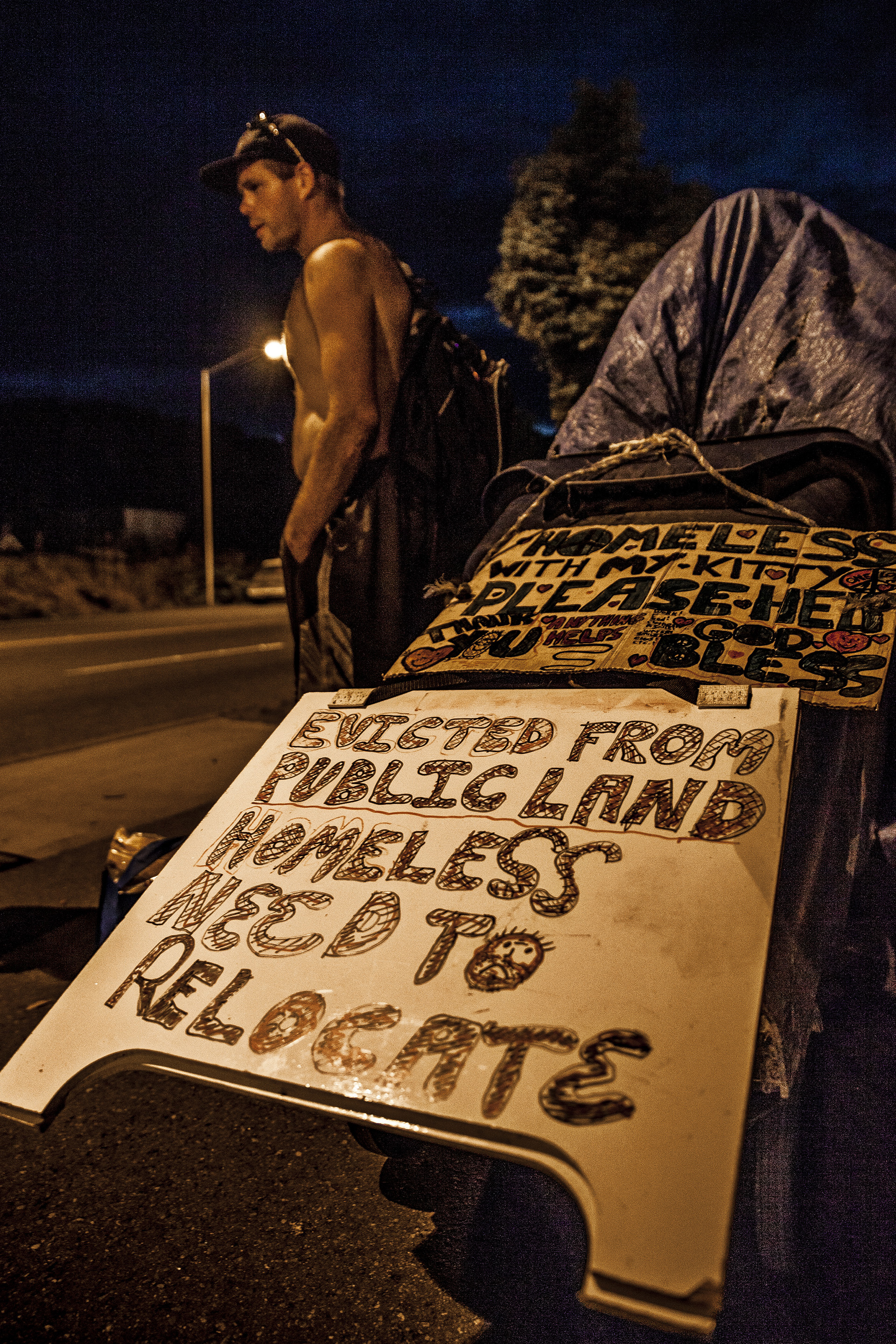 """1 September, 2013 - """"Nickelsville"""", Seattle   Eviction day. Moved on from Nickelsville, residents gather on Highland Park Hwy adjacent to their former home."""