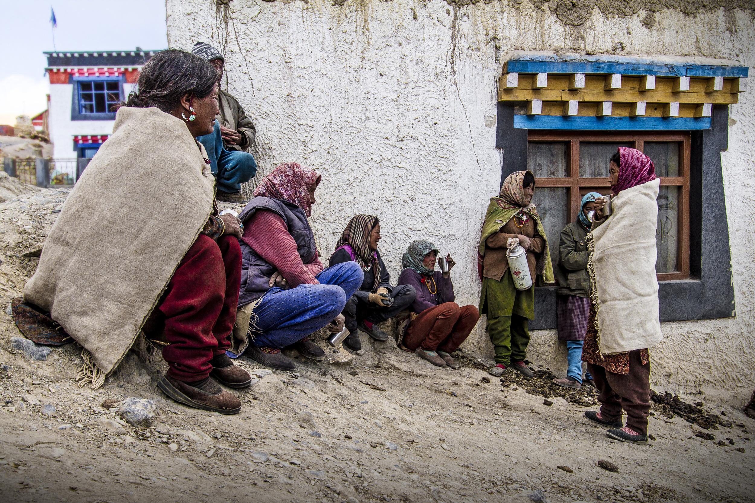 11 October, 2012 - Kibber Village   (14,200ft)   Kibber women take an afternoon Chai tea break