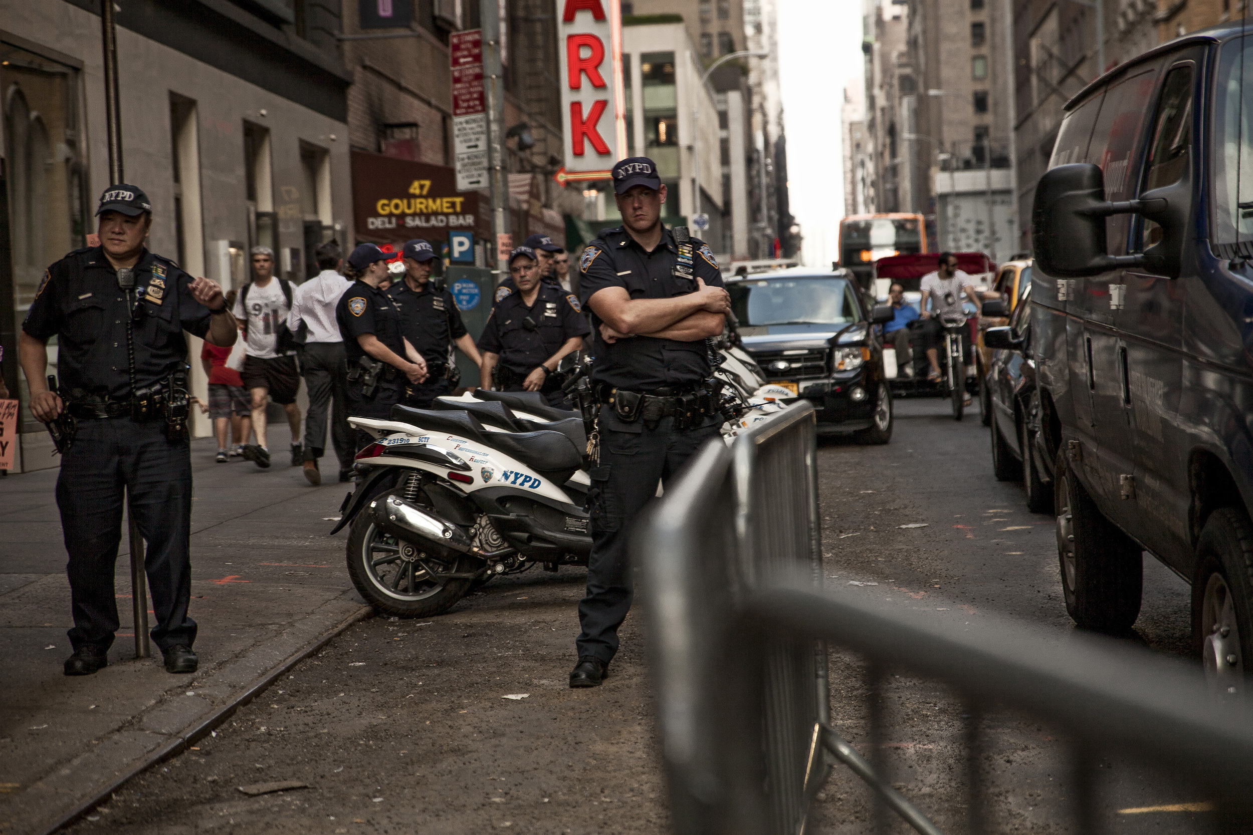 September, 2013 - New York, U.S.A.   NYPD monitor protests in Times Square sparked by police firing onGlenn Broadnax, 35, of Brooklyn, who was later found to be unarmed. Broadnax was unharmed however two tourist bystanders were wounded