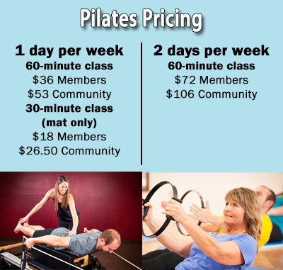 *Pilates are based on a monthly price.