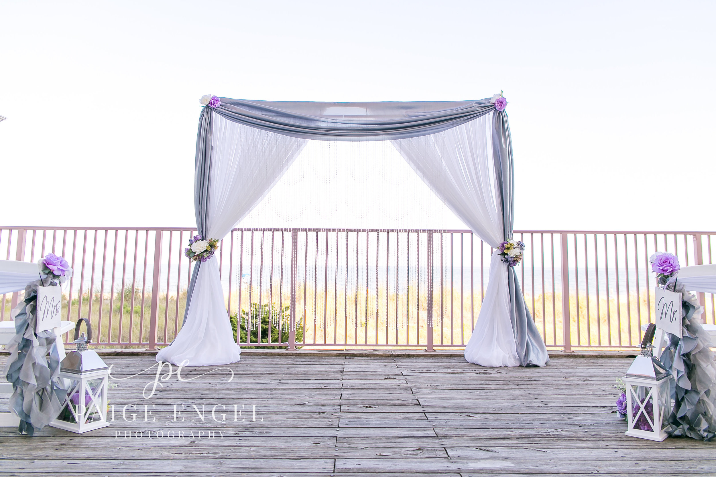 Pipe & Drape arbor used on the deck at Dunes Manor.