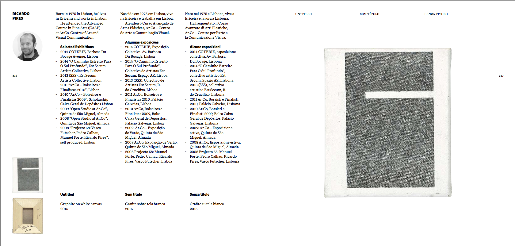 Catalogue clipping. On view: 2nd work of the Imago Mundi Project (not presented in Periplos Exhibition) -  http://www.imagomundiart.com/artworks/ricardo-pires-untitled