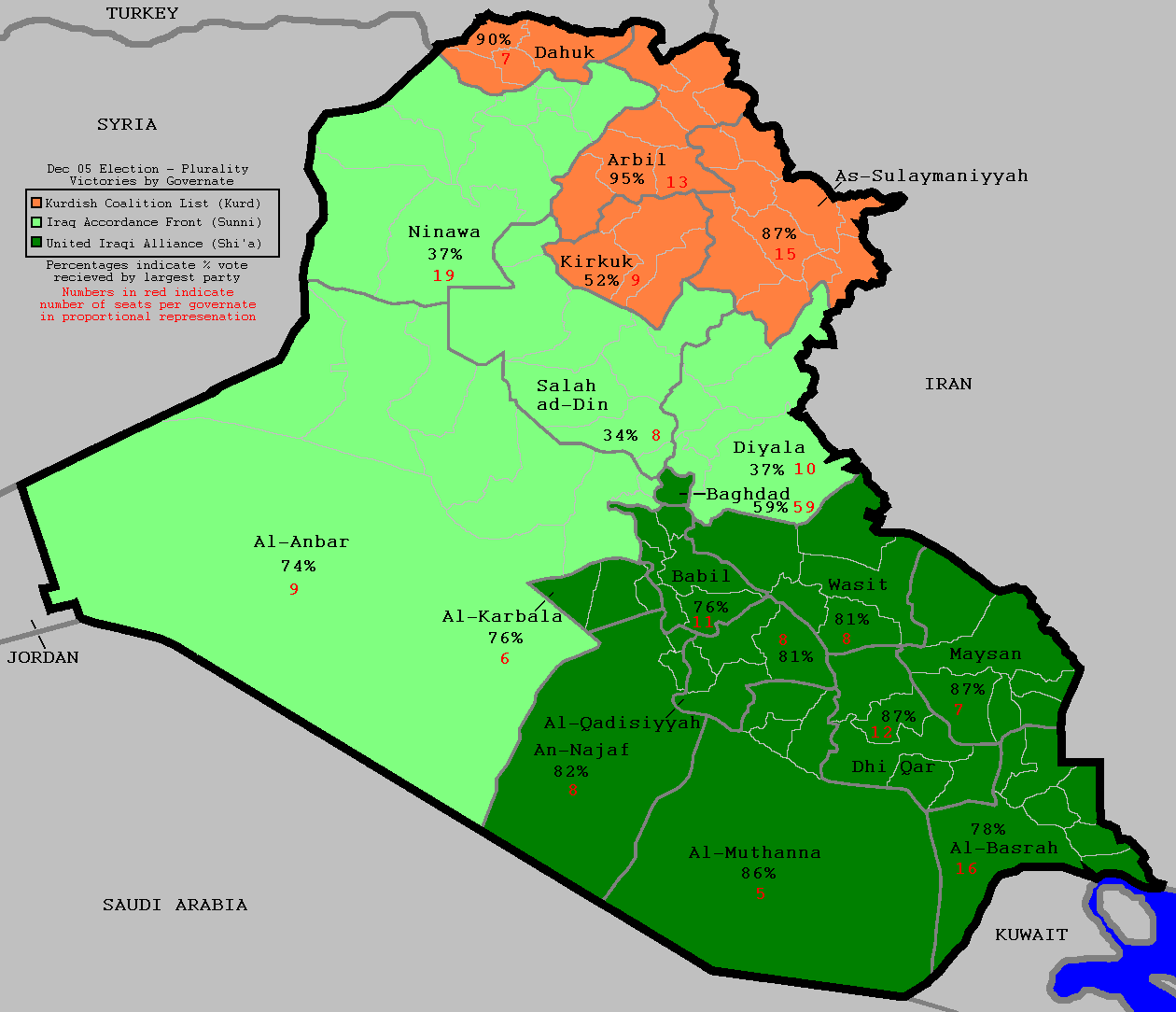 The results of Iraq's December 2005 elections just happen to line up neatly with what its future borders might look like.