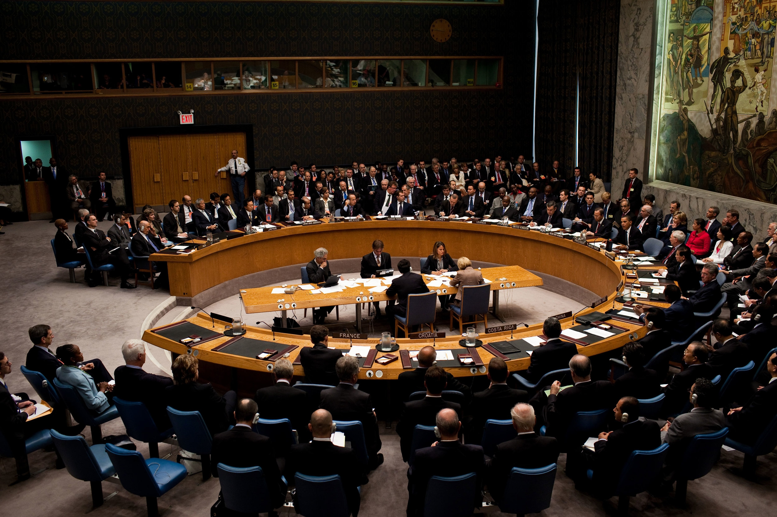 The five permanent members of the U.N. Security Council can veto anything. If any two disagree on, say, Syria, the Council is paralyzed.