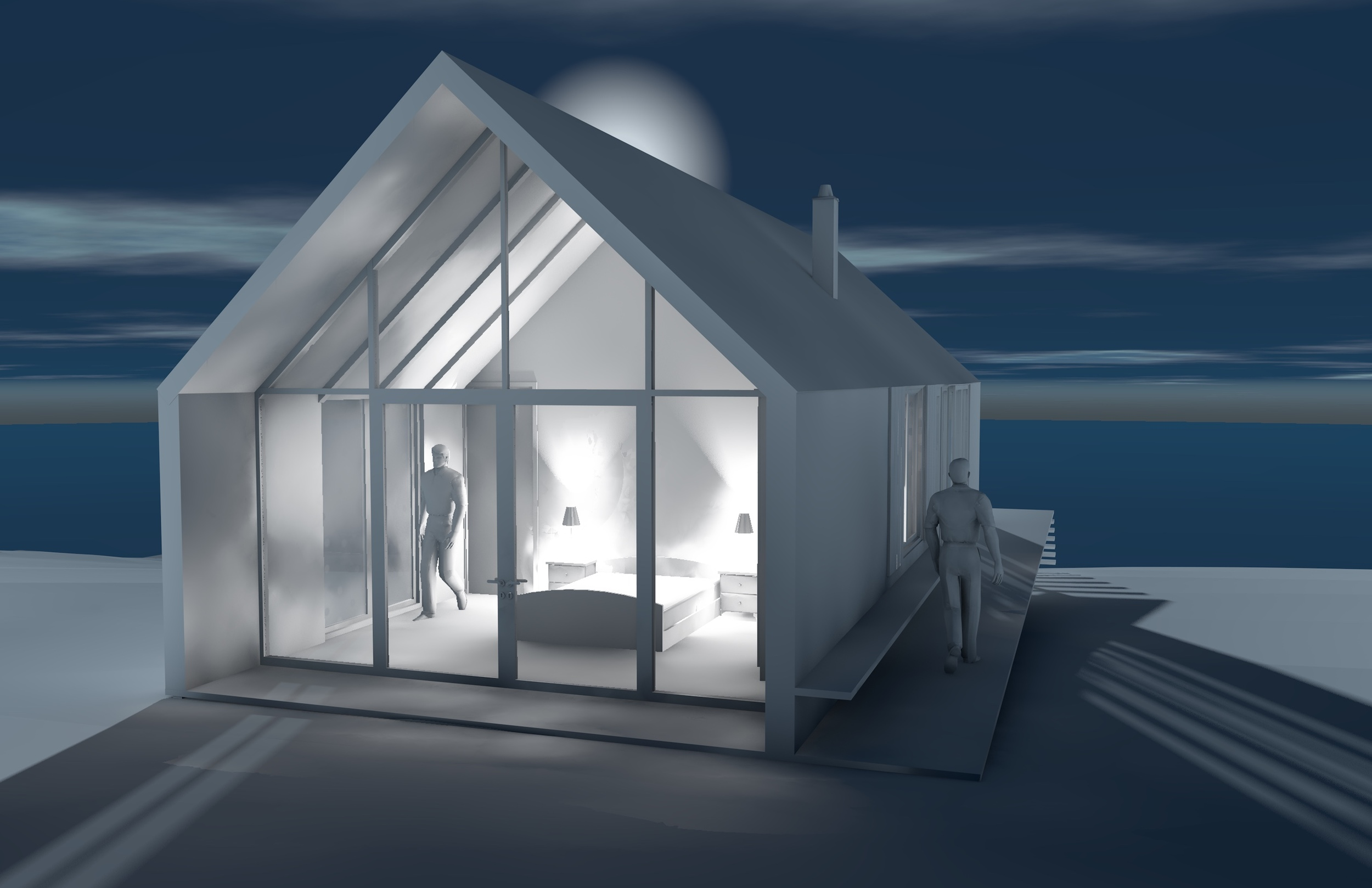 One Bedroom Guest House - White Card Visualization
