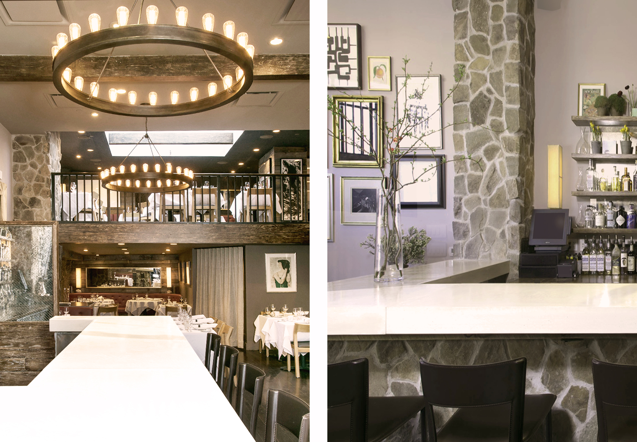 New Custom-Designed Poured Concrete Bar Countertop, with Chandelier over serves as the Dining Hall's Focal-point