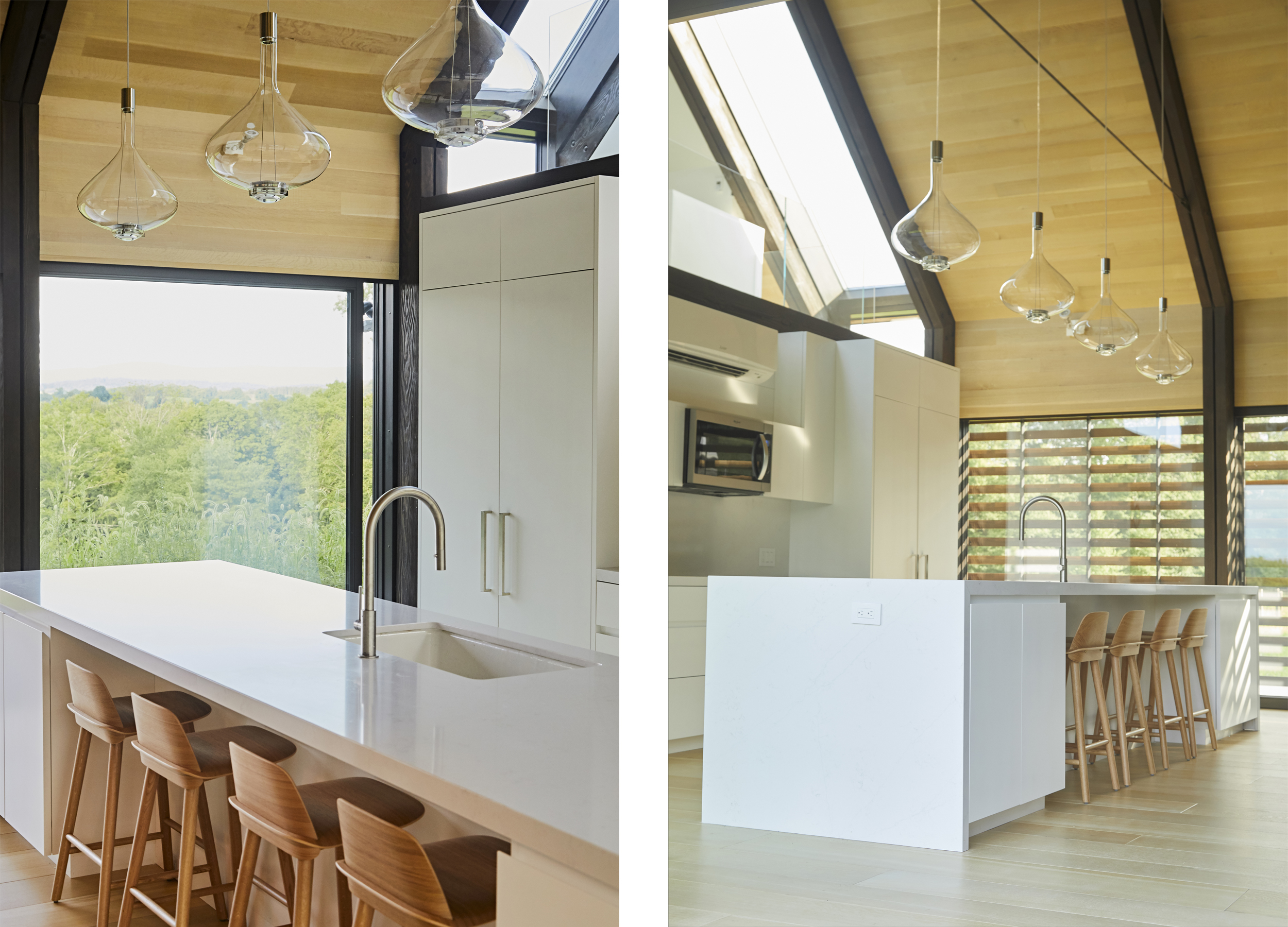 The kitchen's focal point is a 16ft long floating island counter with waterfall which acts as a breakfast bar, storage and