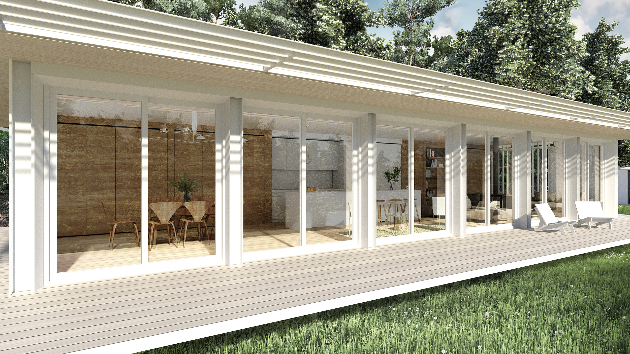 The 55ft long South Facing Porch with fixed sunshading and full-height double sliding patio doors for indoor/outdoor living.