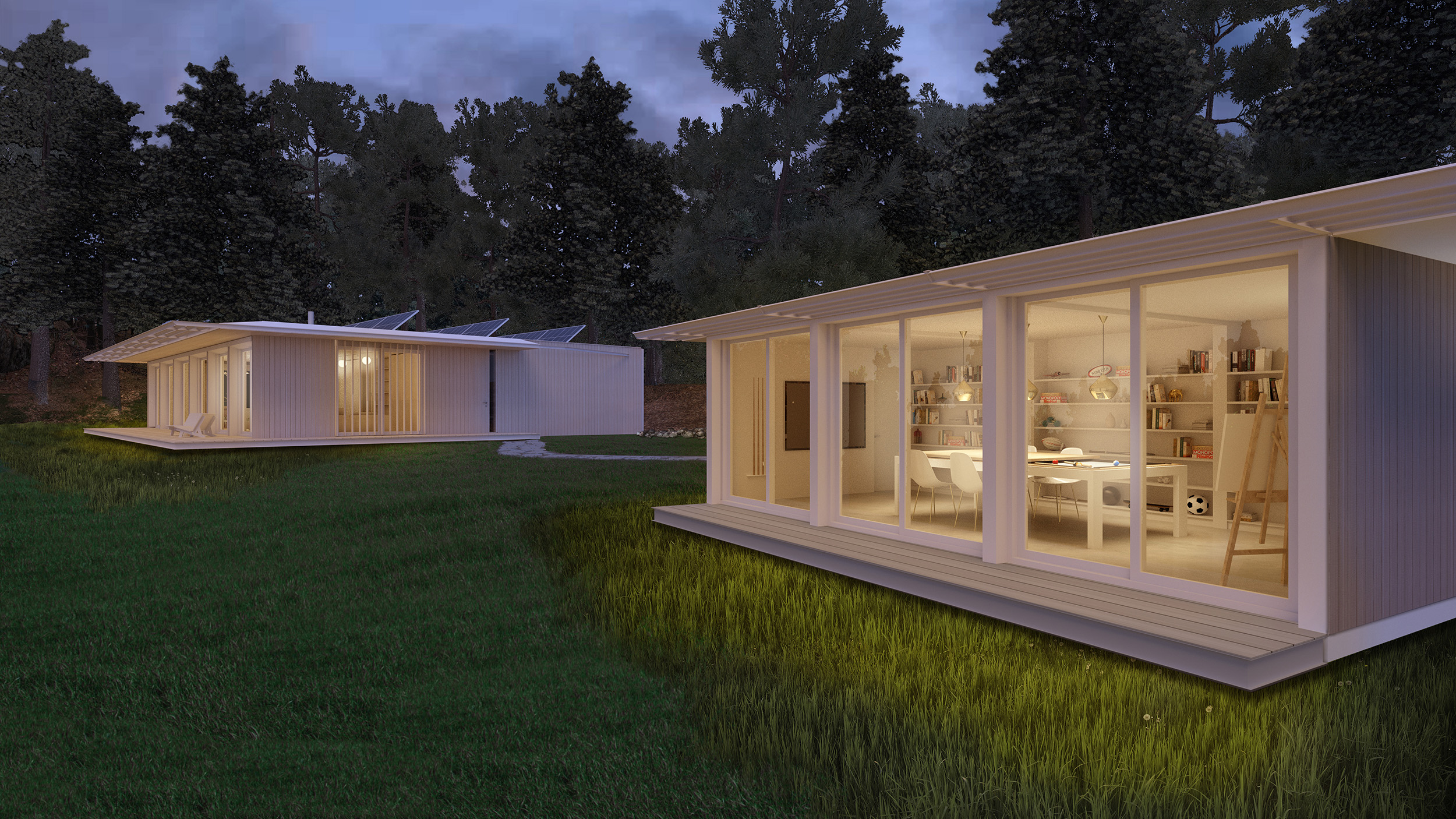 The house and studio design is all-electric, without any fossil fuel use, and rooftop solar as an additional optional upgrade. All lighting is LED. All glazing is triple-glazed.