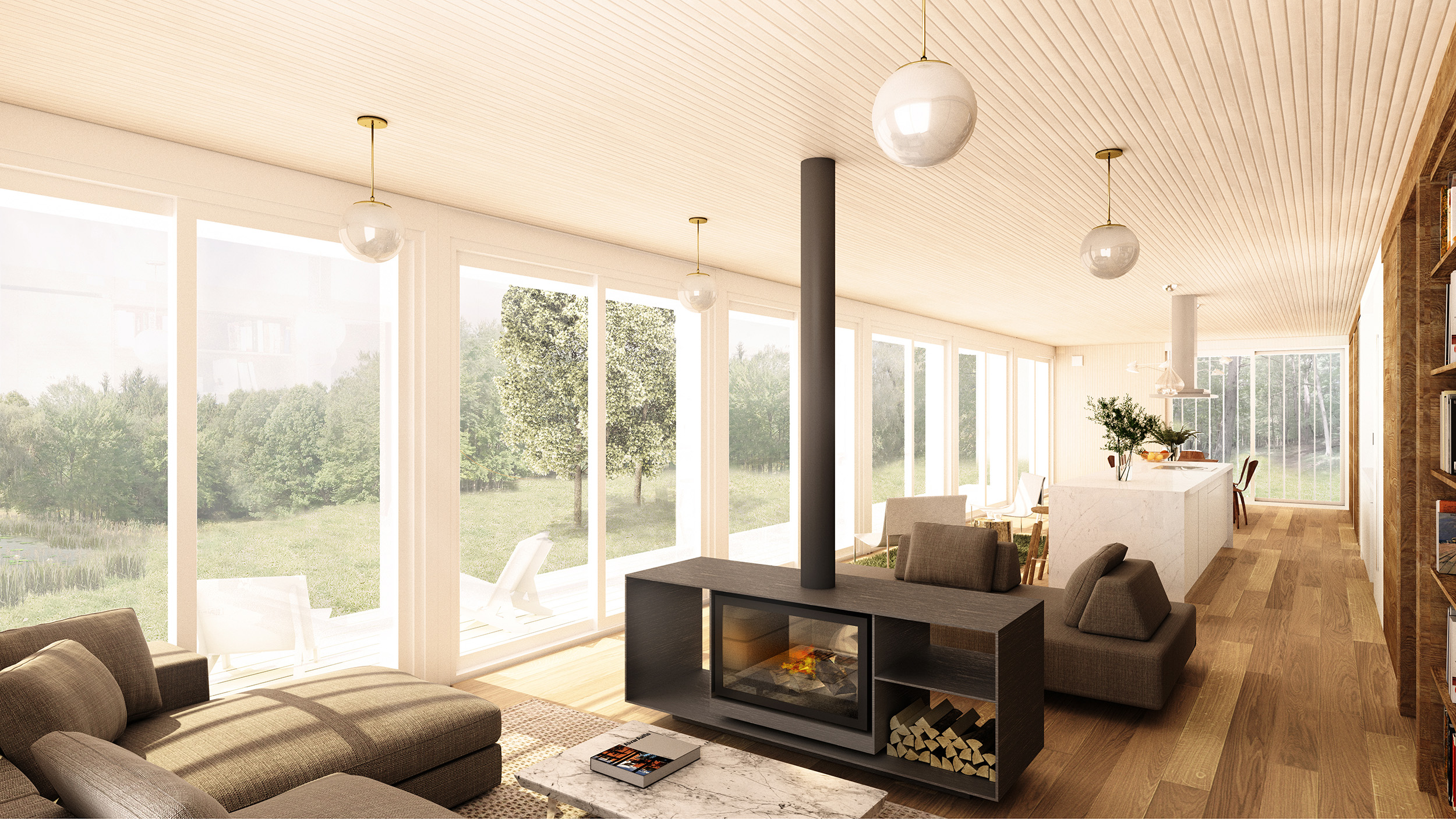 A double-fronted free-standing wood-fireplace takes center stage in the living/lounge area