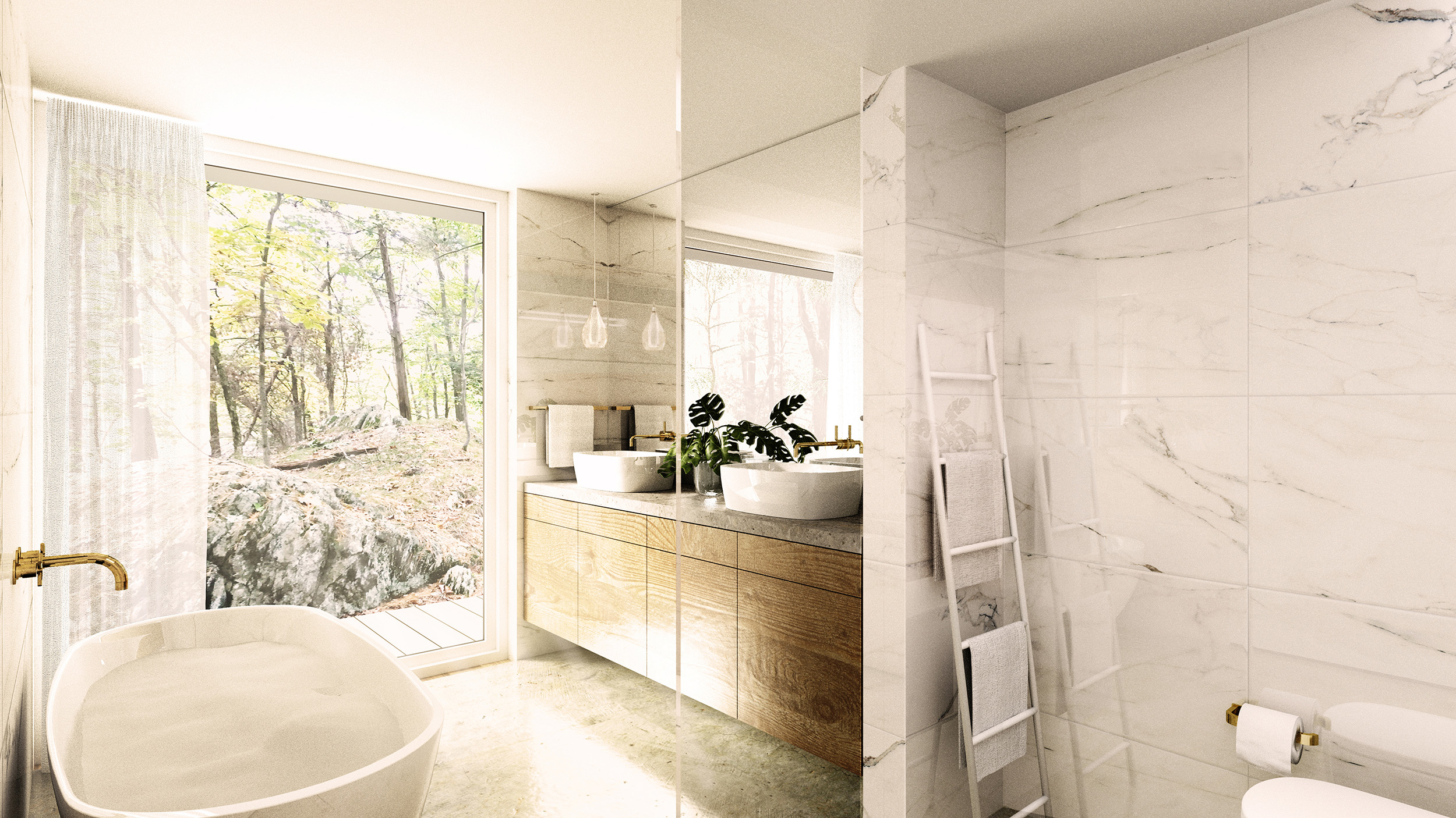 The Master Ensuite, featuring a freestanding soaking tub, looks out towards a rocky outcrop, and the untouched, protected wetlands beyond.