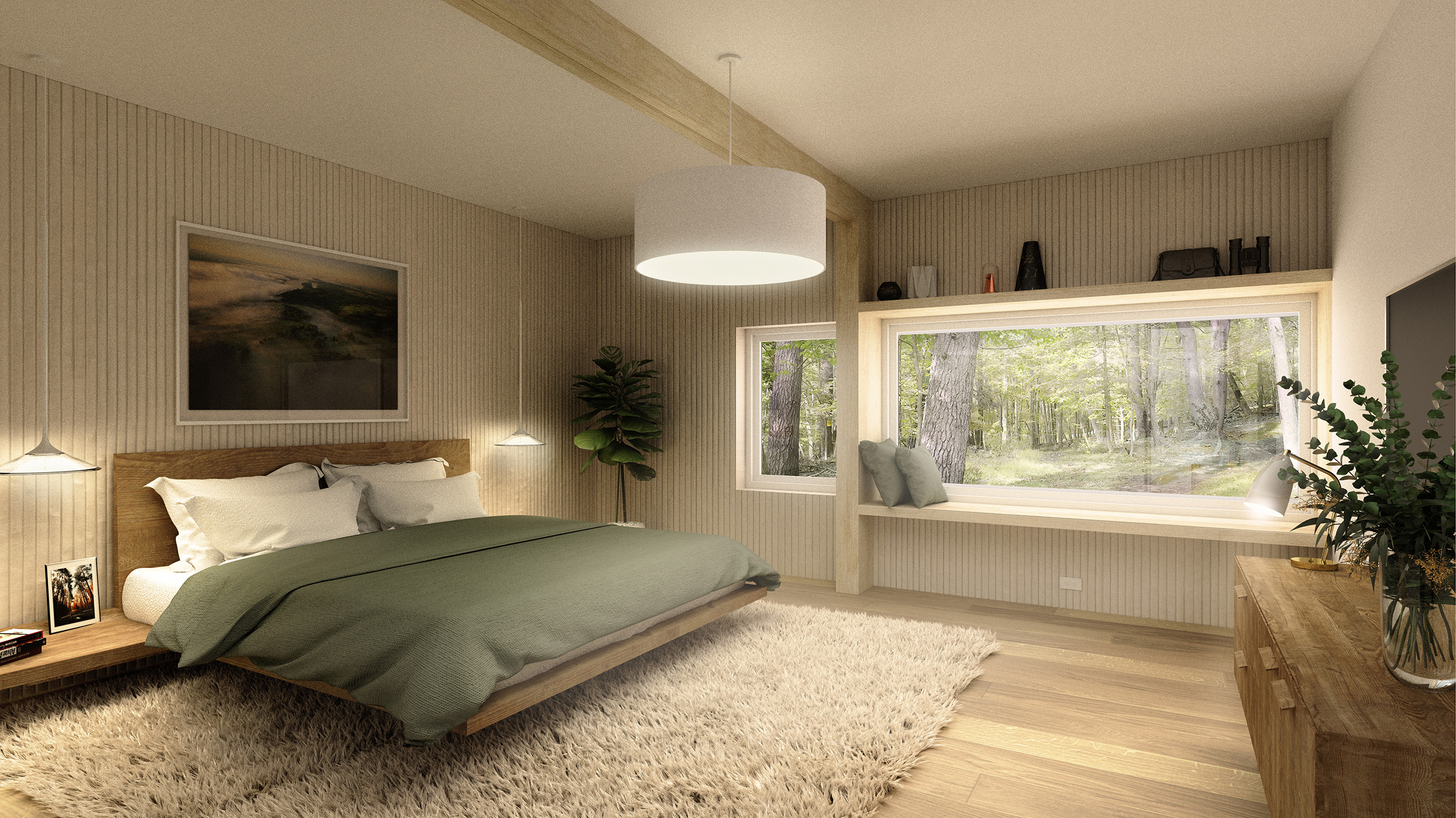 The generously sized Master Bedroom has framed views towards the forested mountainside with an inbuilt picture window seat for contemplative reading.