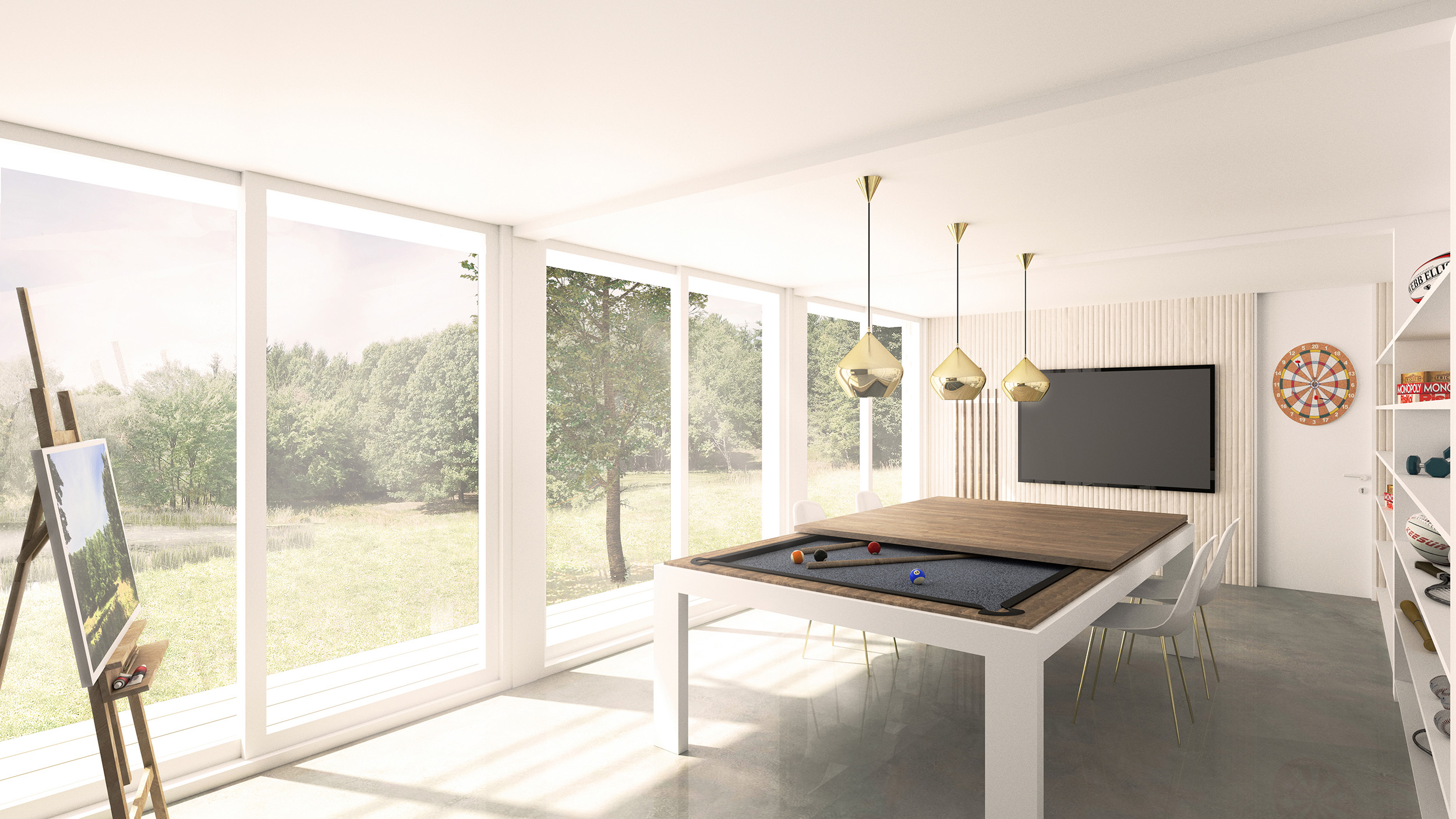 The minimalist south-facing 350 sq ft 'flex-space' adjoining the 2-car garage, is full of natural light, and can become a games room, artists studio, entertainment space, rumpus room or a workshop.