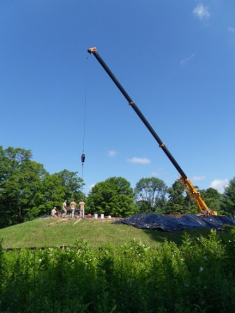 5-Crane Removing Coping Stones from Main Roof.JPG