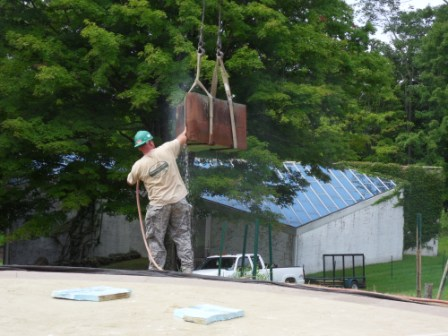 7-Prepping Coping Stone to be Re-installed on New Roof.JPG