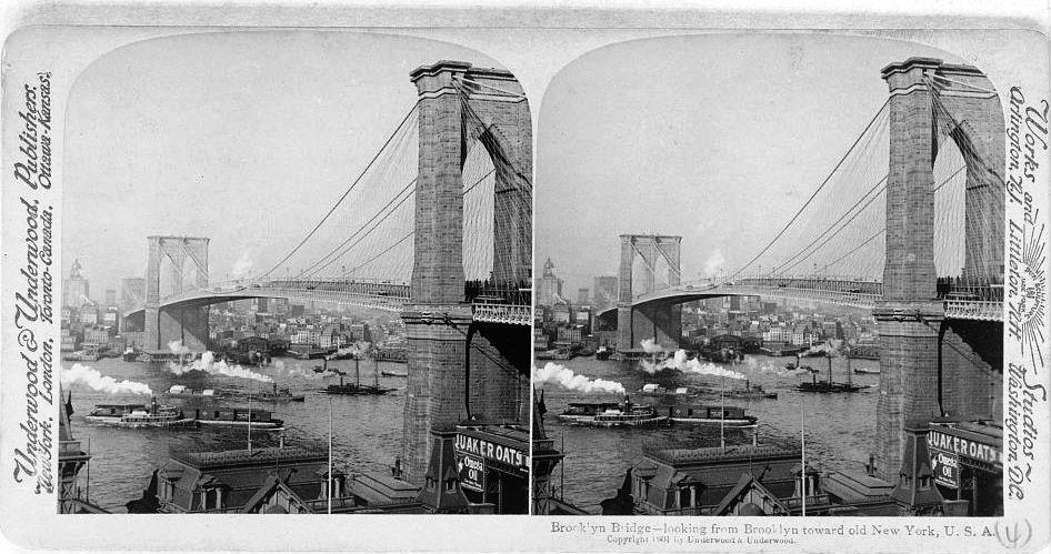 """Brooklyn Bridge - looking from Brooklyn toward old New York, U.S.A,"" Underwood & Underwood, Publishers, c1901."