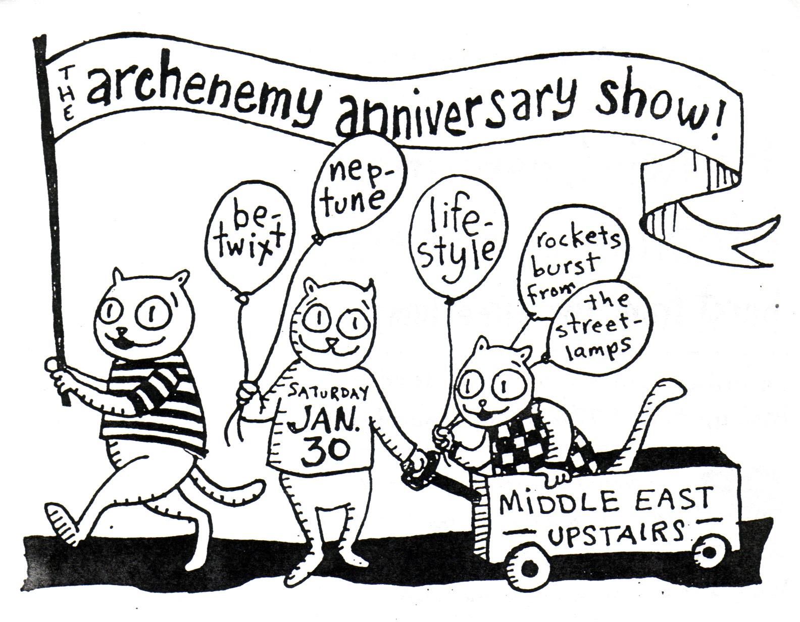 Archenemy 1 Year Anniversary Show Flier, 1998