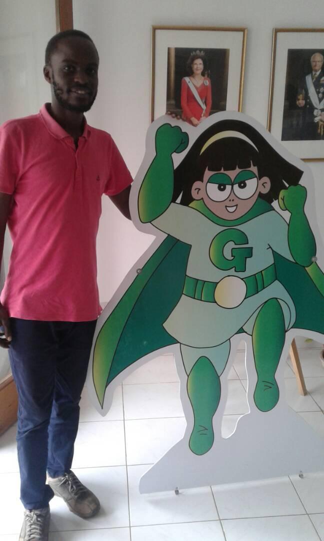 Artist Ben and his creation Green Gloria