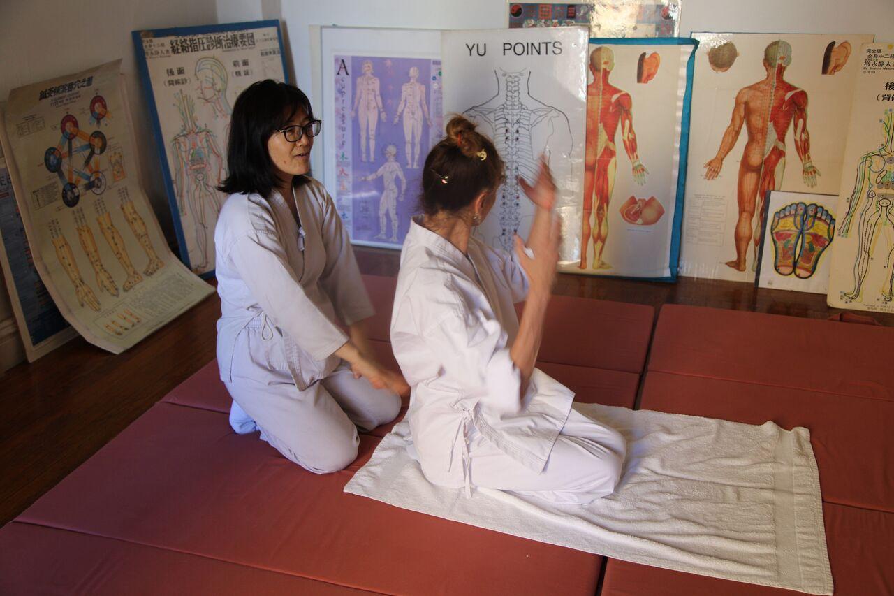 Review shiatsu techniques, movement, and diagnostic skills