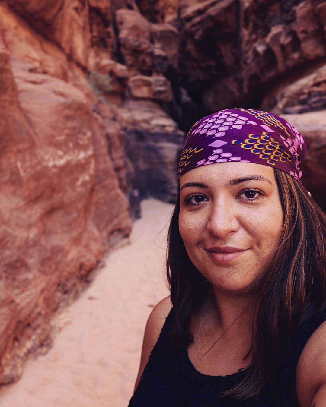 Enjoying the amazing rock formations of Wadi Rum in Jordan!