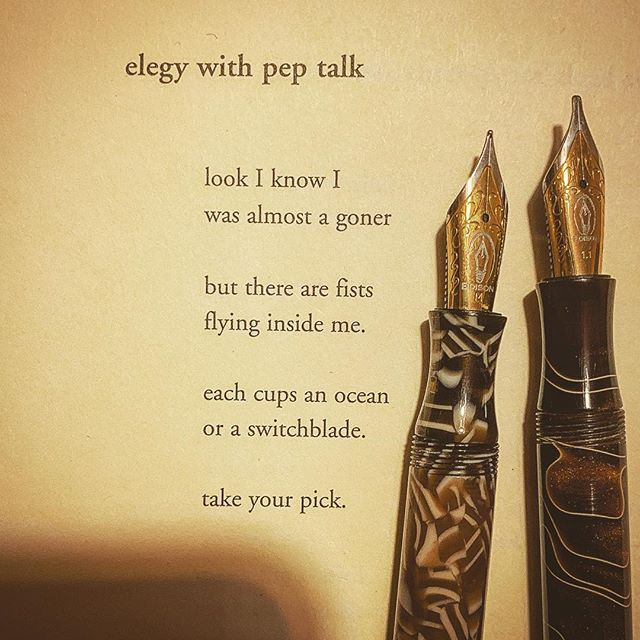 A poem by Nina Puro from her book, Each Tree Could Hold a Noose or a House ... and two Edison Fountain Pens. #warrenwilsonmfa #longlivepoetry #poetryisart #spokenwordpoetry #edisonpen #fountainpenaddict #cigaraficionado #elegy #poetryischurch #literature #awp2019 @esavandusen @ninapuro #poemoftheday #shortpoems #lovetoread #journaling #thewriterlife #thewritinglife #poetrycommunity #instapoetry #ilovepoetry #poetry #poet #americanpoetry #poetsofinstagram #book #ritsospoetry #gouletpens
