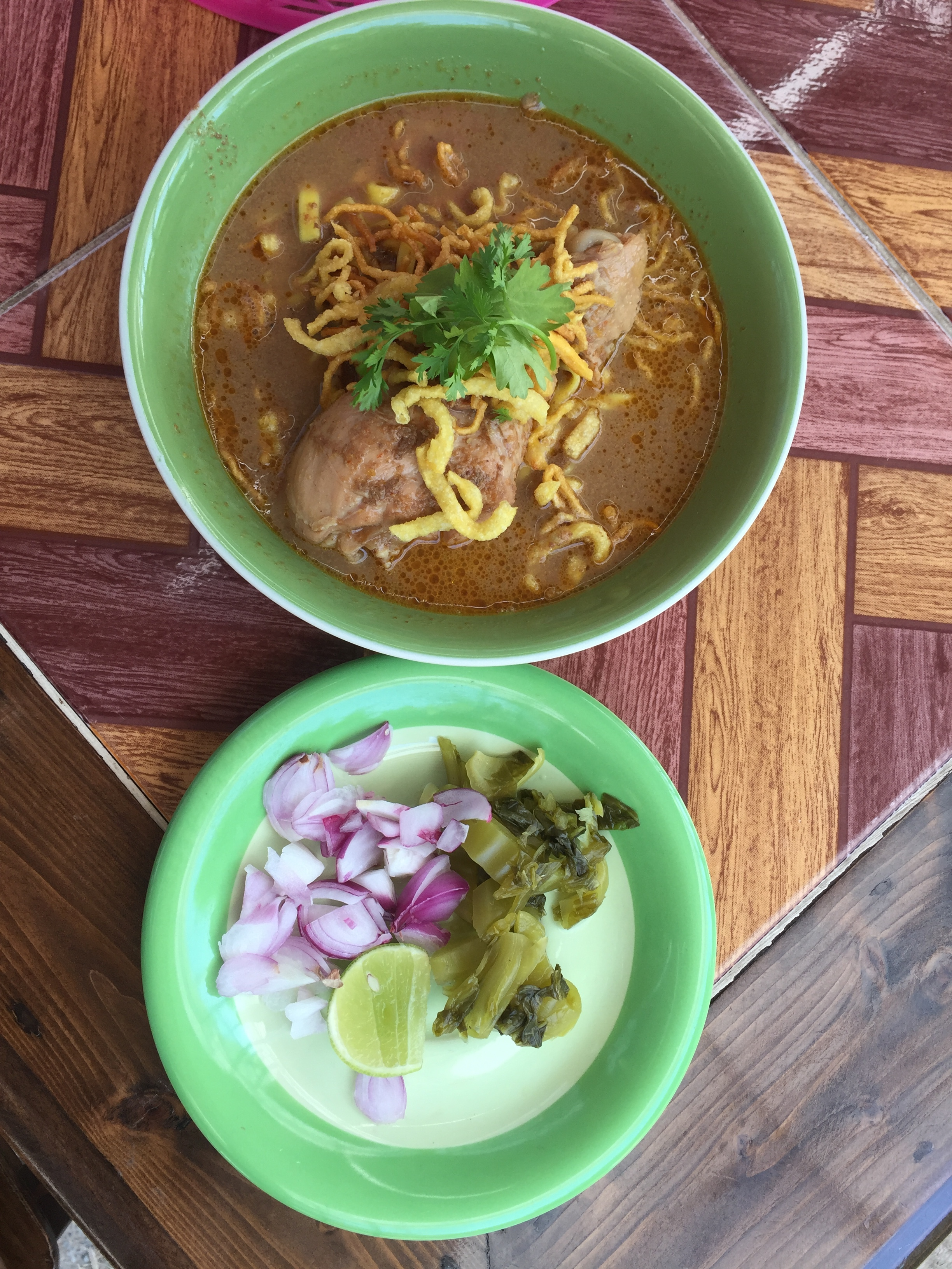 Khao Soi Gai from Chiangmai Thailand, 15 baht (or about 30 cents) per bowl.
