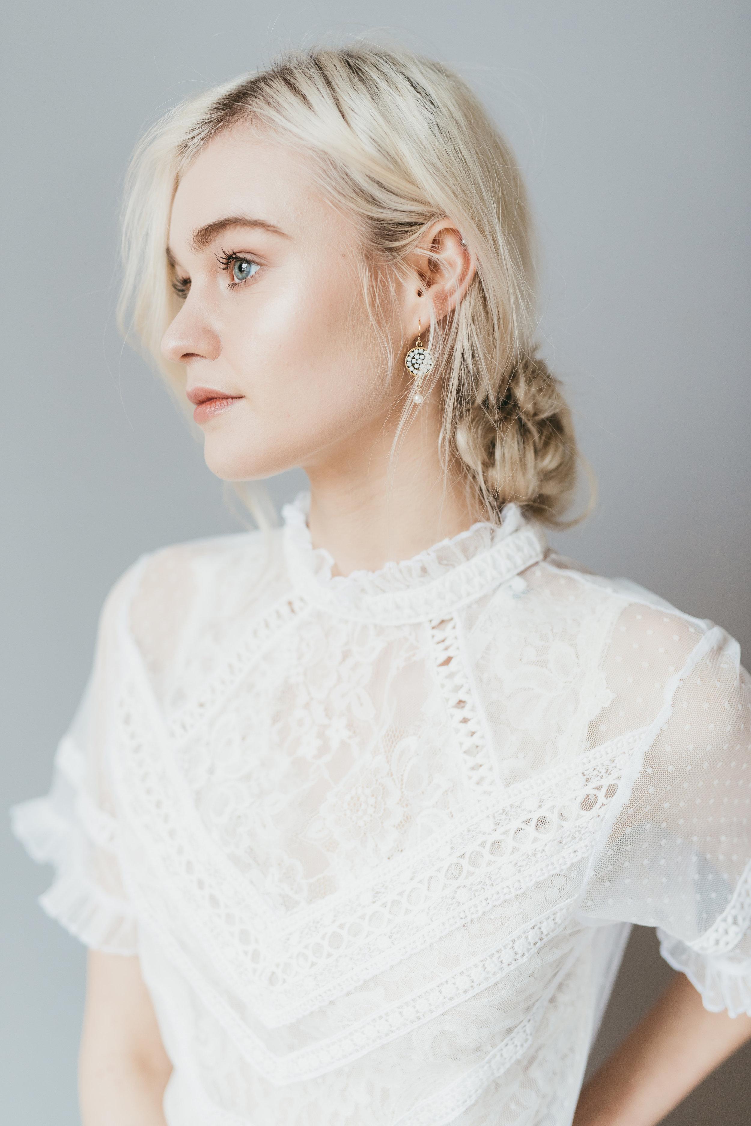 lovers knot earrings by emma pilkington. dress frock&soul (4).jpg