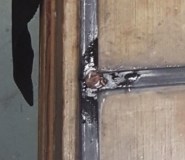 Poor Glass/solder work passed along by a carpenter.