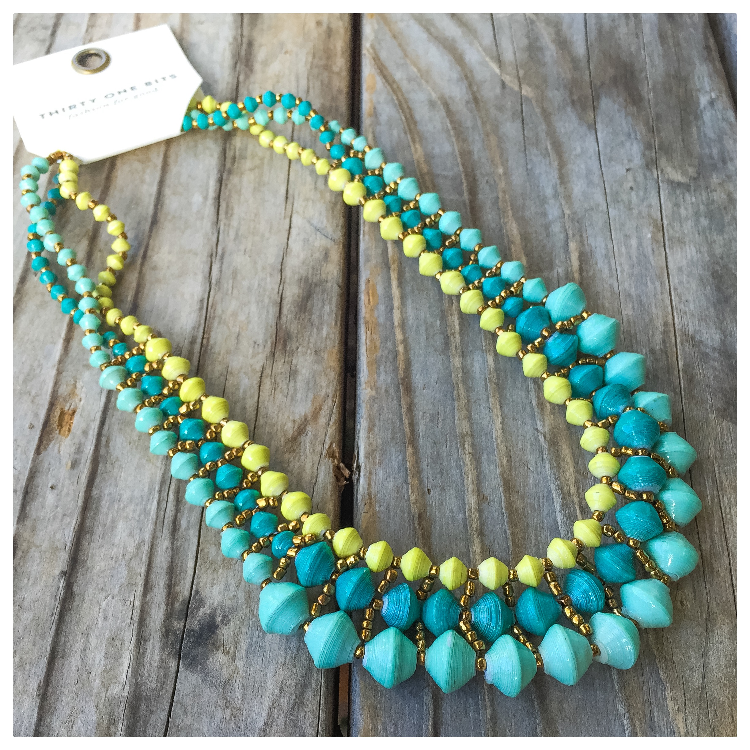 The Fiji Necklace from  31 Bits is just as beautiful as it is purposeful. Made in Uganda, this company seeks to improve the lives of women and their communities by making beautiful jewelry through a holistic development program.