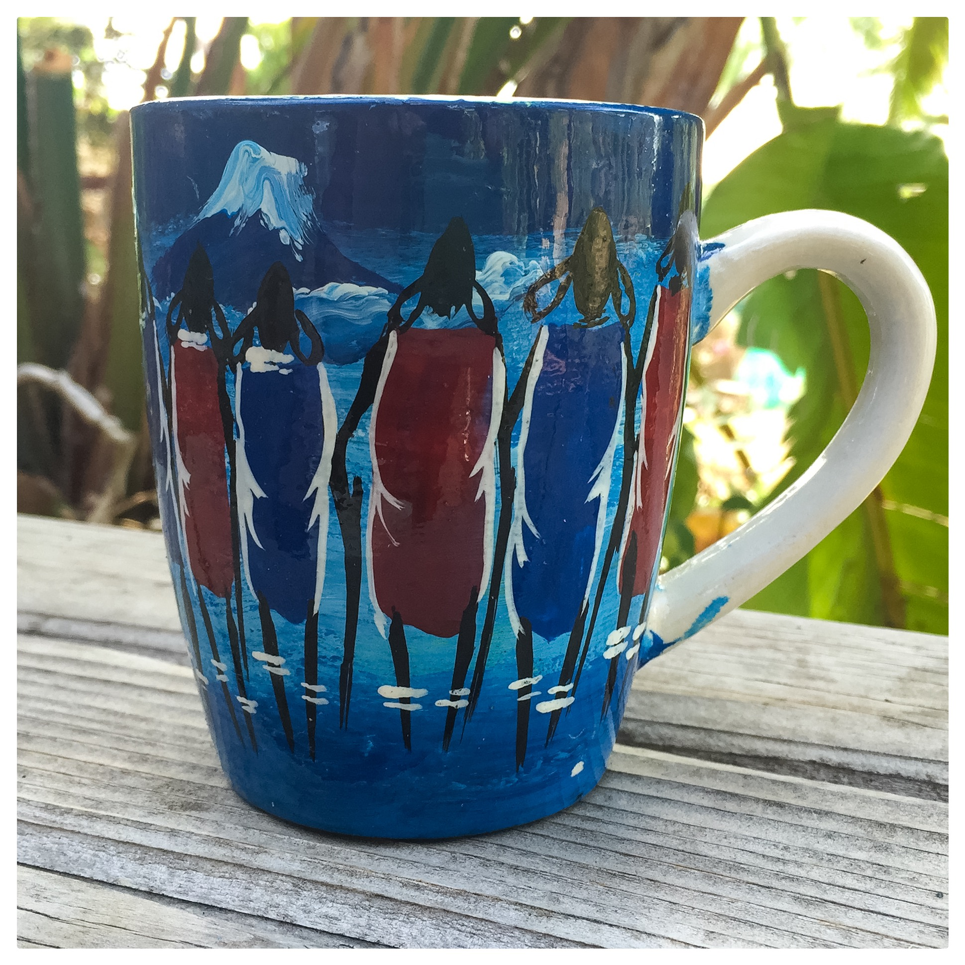 Maasai mug from Tanzania, hand picked and purchased by our 8 year old friend Natalie! Look back in our blog for an interview with her!