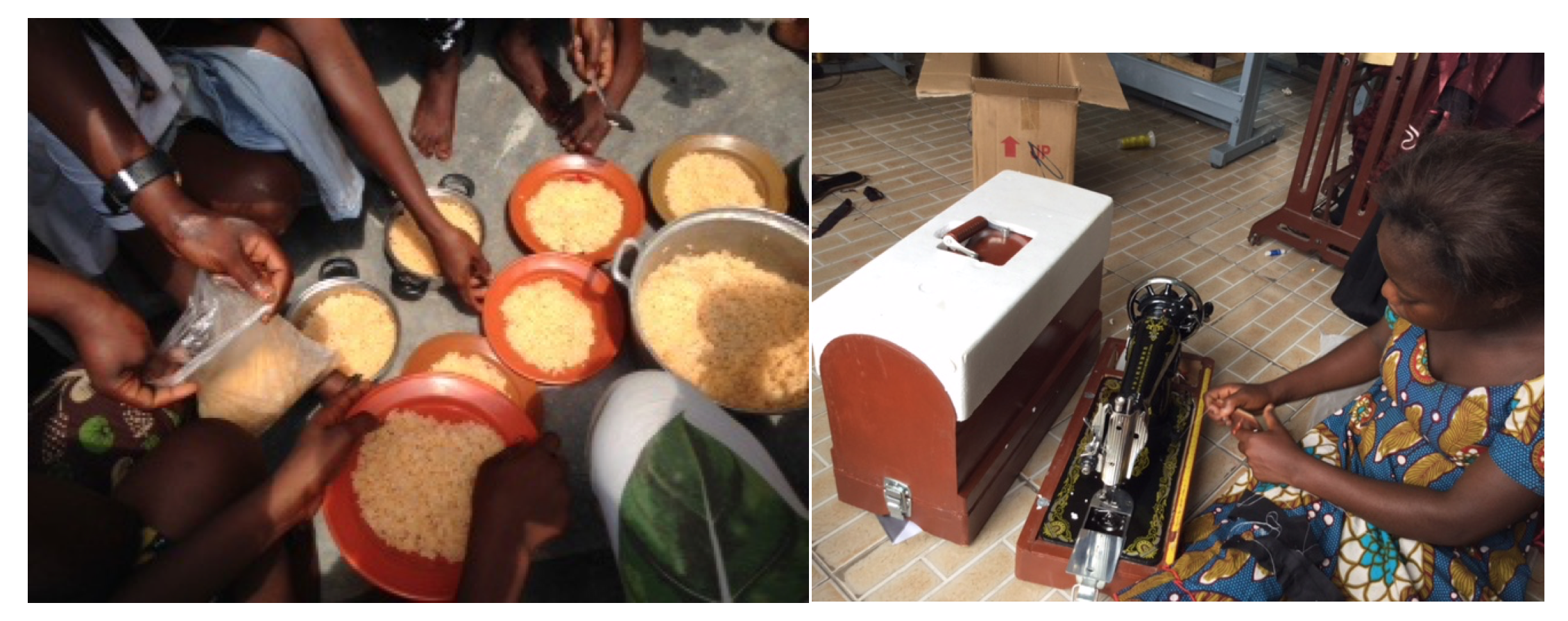 Community meals are shared by the women. Each of the seven graduates received their own sewing machines!