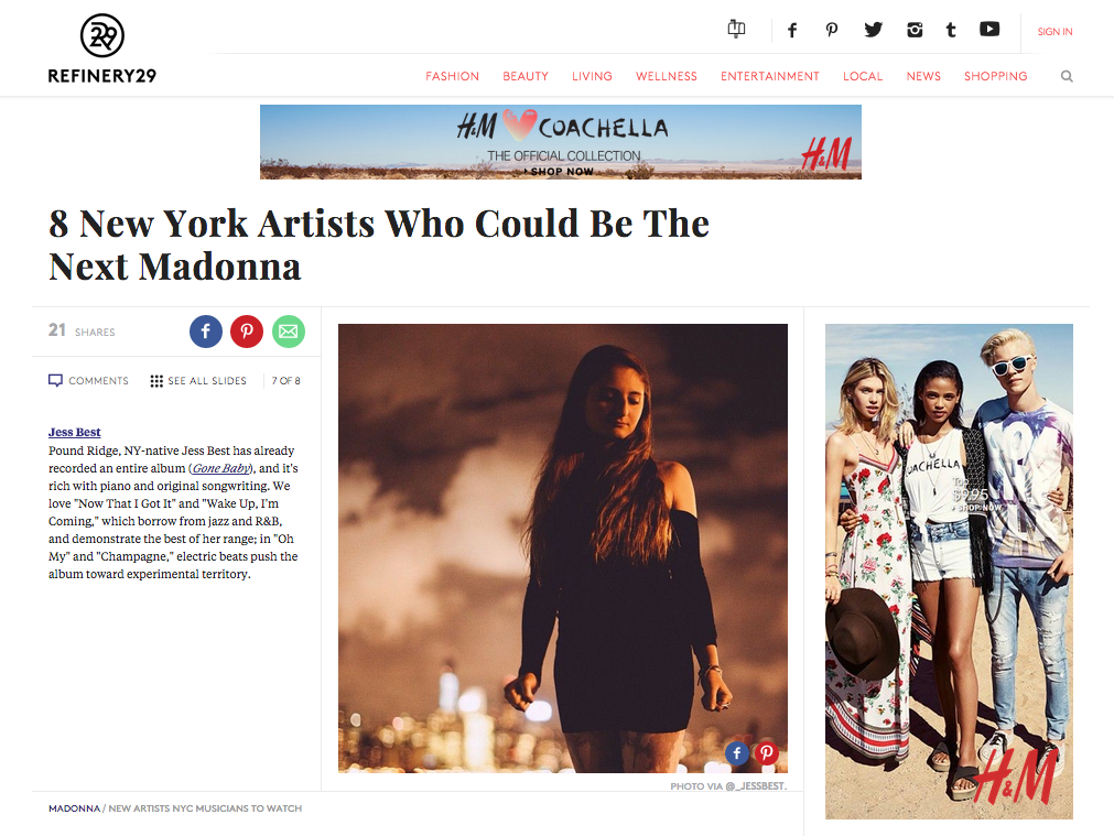 """Refinery29: """"8 New York Artists Who Could Be The Next Madonna: Jess Best"""" - April 2015"""