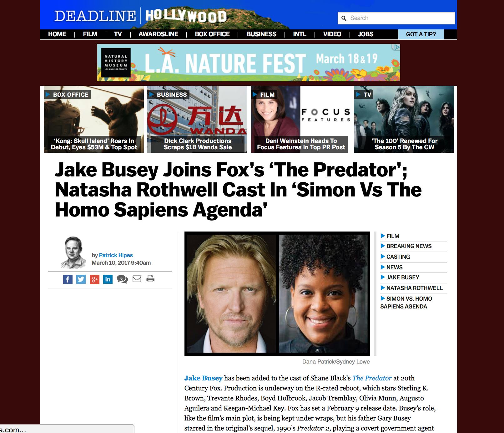 "Deadline Hollywood: ""Natasha Rothwell Cast in 'Simon Vs The Homo Sapiens Agenda'"" - March 2017"