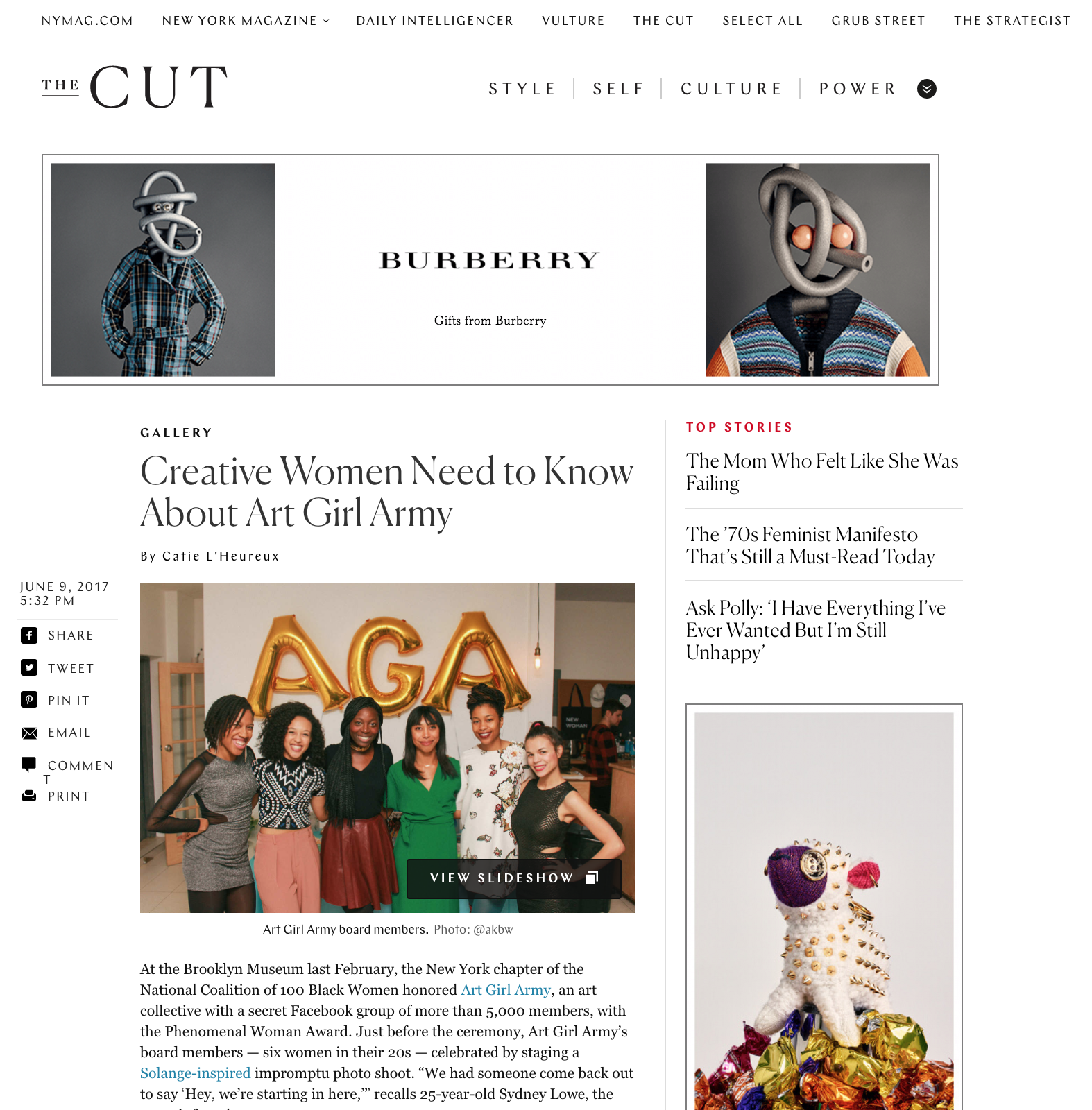 """New York Magazine, The Cut - """"Creative Women Need to Know About Art Girl Army"""" - June 2017"""