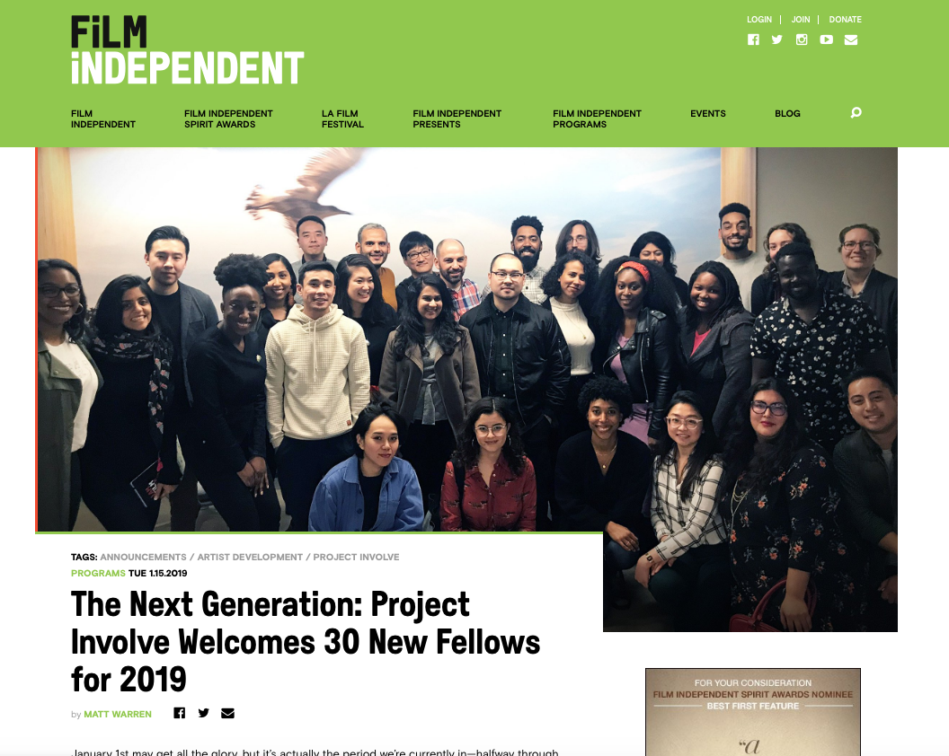Film Independent 2019 Project Involve Fellowship