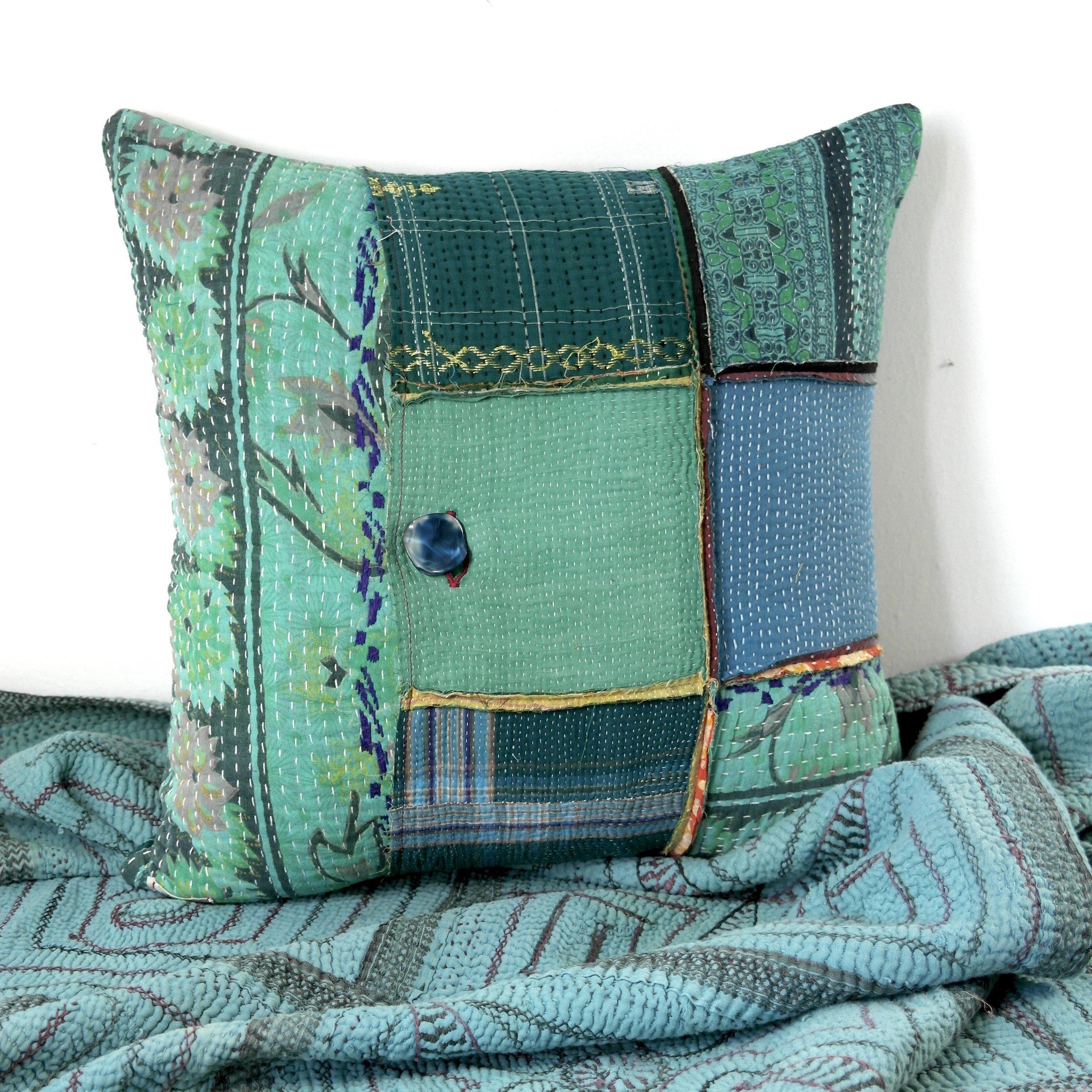 kantha patchwork cushion
